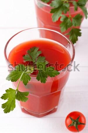 新鮮な トマトジュース パセリ 白 木製 食品 ストックフォト © Lana_M