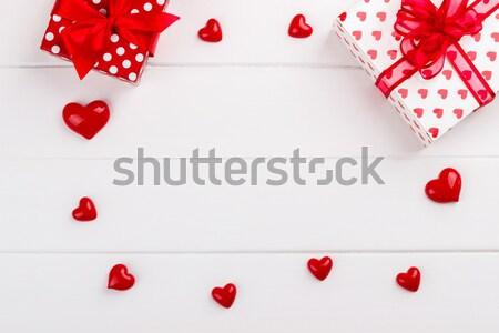 красный сердцах белый Валентин Сток-фото © Lana_M