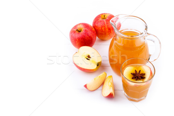 свежие яблочный сок зрелый плодов белый деревянный стол Сток-фото © Lana_M