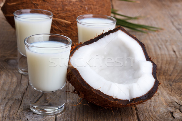 ココナッツミルク シェル ガラス ココナッツ 古い 木製 ストックフォト © Lana_M