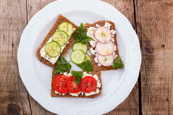 Collations plaque saine deuxième déjeuner blanche Photo stock © Lana_M