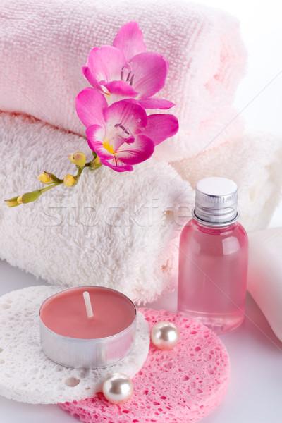 Stock fotó: Fürdő · wellness · törődés · termékek · szépség · gyertya