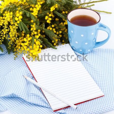 Bloemen notepad beker thee Blauw doek Stockfoto © Lana_M