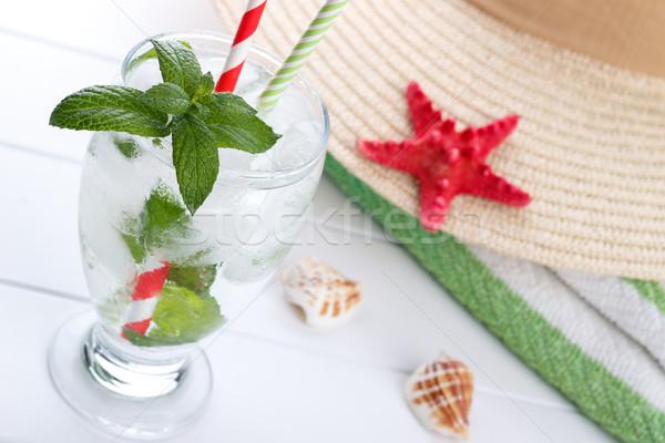 Frissítő víz menta nyár ital pezsgő Stock fotó © Lana_M