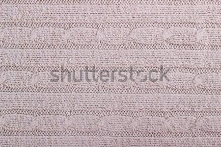 Textuur gebreid wollen weefsel beige behang Stockfoto © Lana_M