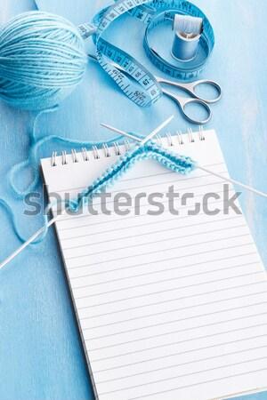 Blauw wol bal patroon creatieve Stockfoto © Lana_M