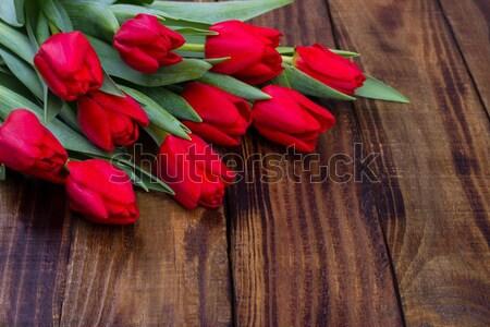 букет красный тюльпаны деревенский Пасху Сток-фото © Lana_M