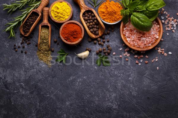 Gyógynövények fűszer fekete kő felső kilátás Stock fotó © Lana_M