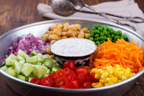 Hozzávalók saláta egészséges organikus joghurt öntet Stock fotó © Lana_M