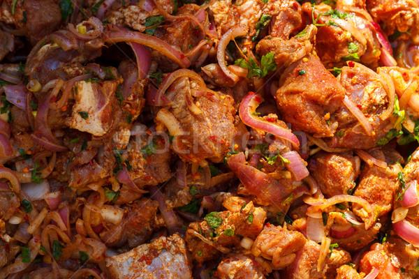 Gemarineerd varkensvlees vlees ui specerijen ruw Stockfoto © Lana_M