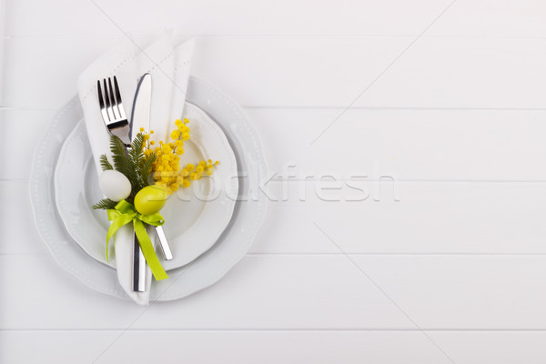 Pasen tafel witte houten tafel feestelijk vakantie Stockfoto © Lana_M