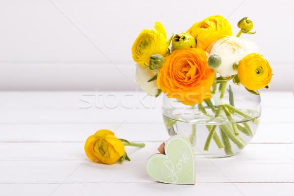 Houten hart bloemen bericht liefde boeket Stockfoto © Lana_M