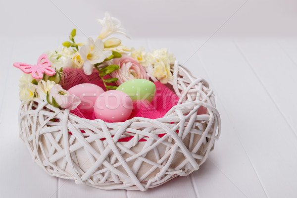 корзины пасхальных яиц цветы белый Пасху Сток-фото © Lana_M