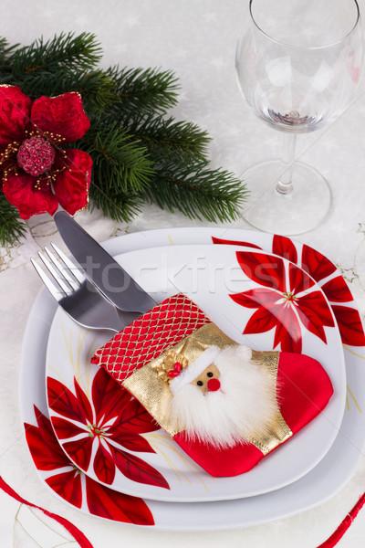 Noel tablo süsler kutlama beyaz masa örtüsü Stok fotoğraf © Lana_M
