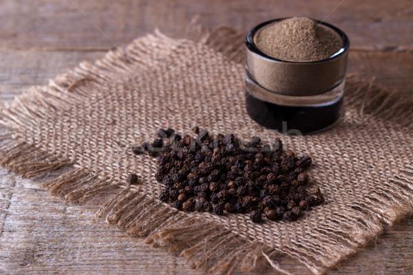 Pimenta preta pó madeira cozinha milho Foto stock © Lana_M