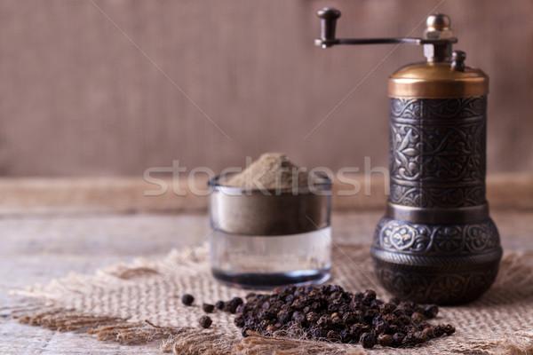 Karabiber toz ahşap mutfak siyah değirmen Stok fotoğraf © Lana_M