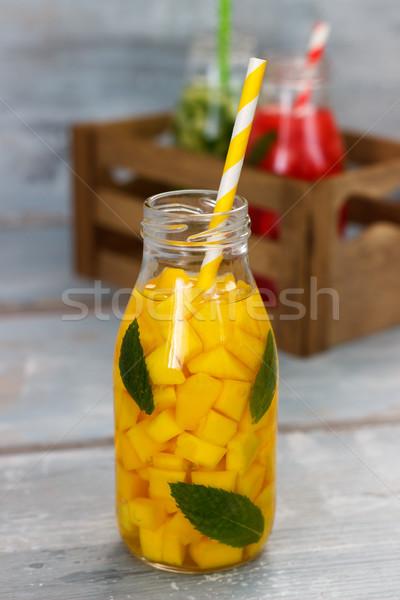 Detoxikáló gyümölcs víz frissítő nyár házi készítésű Stock fotó © Lana_M