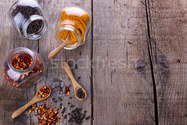 Chili flakes,black peper and turmeric Stock photo © Lana_M