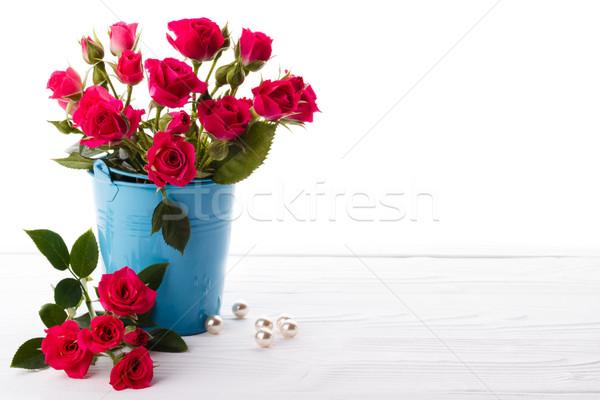 Rózsaszín rózsák fa ajándék házasság klasszikus Stock fotó © Lana_M