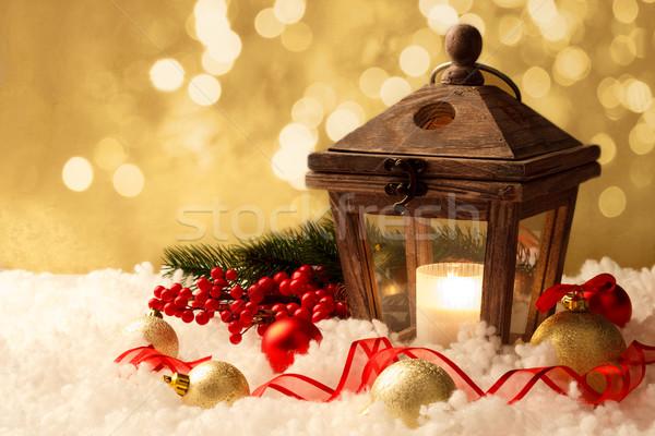 Lantaarn christmas decoraties brandend witte sneeuw Stockfoto © Lana_M