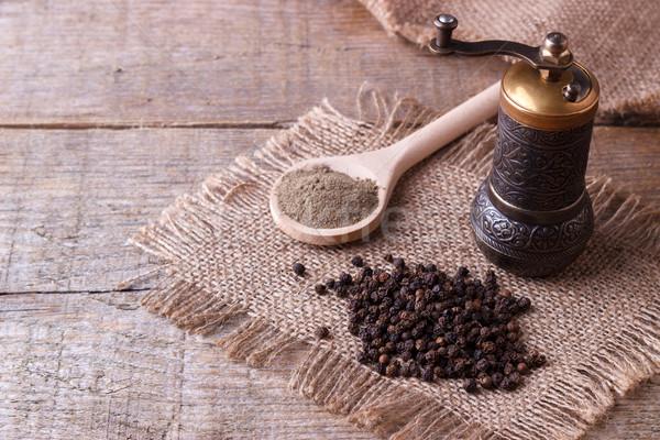 Zwarte peper poeder houten hout keuken mais Stockfoto © Lana_M