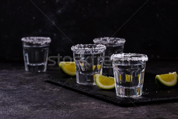 テキーラ ショット 石灰 塩 海塩 黒 ストックフォト © Lana_M