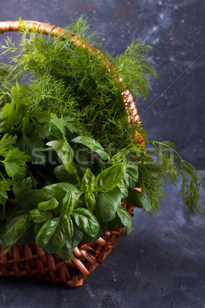свежие травы плетеный корзины Сток-фото © Lana_M