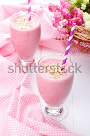 Strawberry smoothie with oat Stock photo © Lana_M