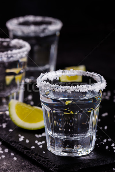 Tequila shot with lime and salt Stock photo © Lana_M