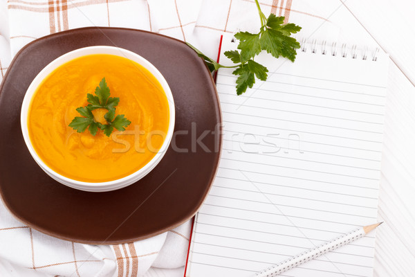 Zucca zuppa ricetta libro matita bianco Foto d'archivio © Lana_M
