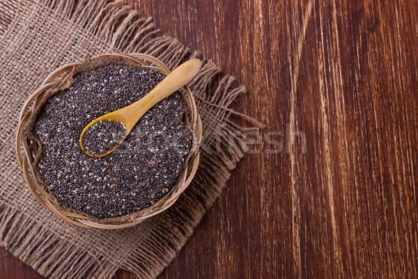 Magok fakanál fából készült szelektív fókusz textúra étel Stock fotó © Lana_M