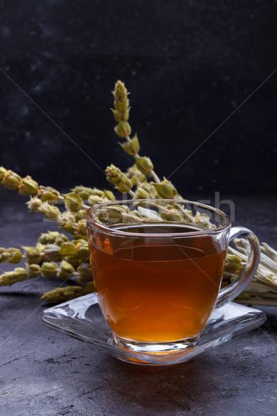 Berg kruidenthee thee bloemen houten water Stockfoto © Lana_M