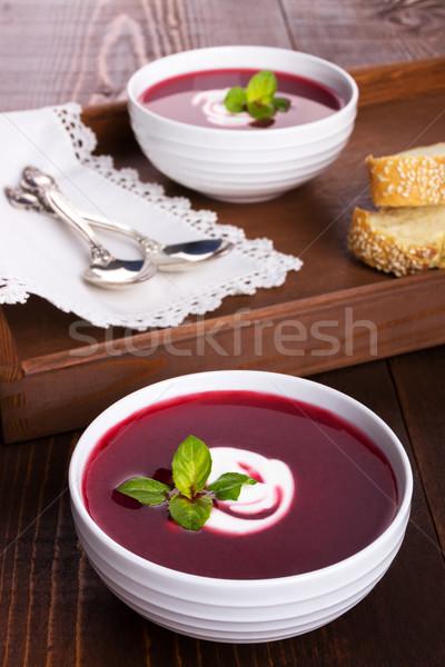 étvágygerjesztő cékla leves felszolgált krém egészség Stock fotó © Lana_M