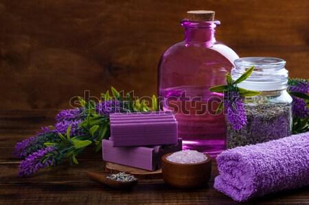 Estância termal lavanda feito à mão sal toalha Foto stock © Lana_M