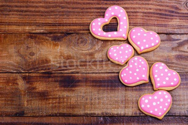 Valentin nap sütik szív alakú öreg fából készült Stock fotó © Lana_M