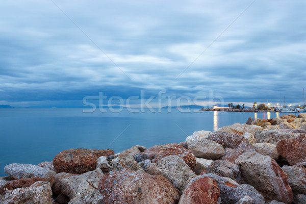 темно дождливый небе пород пляж Греция Сток-фото © Lana_M