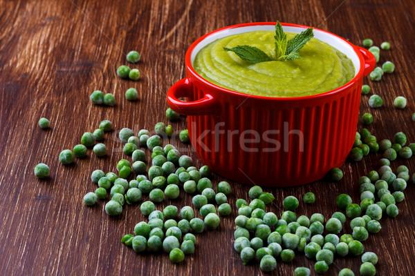 здорового зеленый суп чаши деревенский деревянный стол Сток-фото © Lana_M