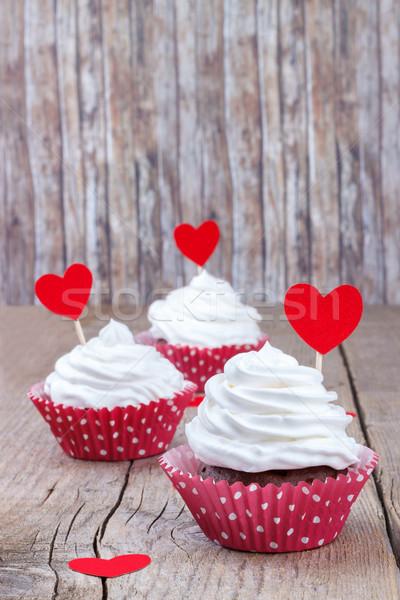 Cupcake weiß Buttercreme Holztisch Papier Stock foto © Lana_M