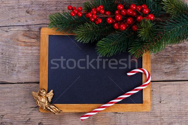 Christmas decoraties tekst selectieve aandacht boom Stockfoto © Lana_M