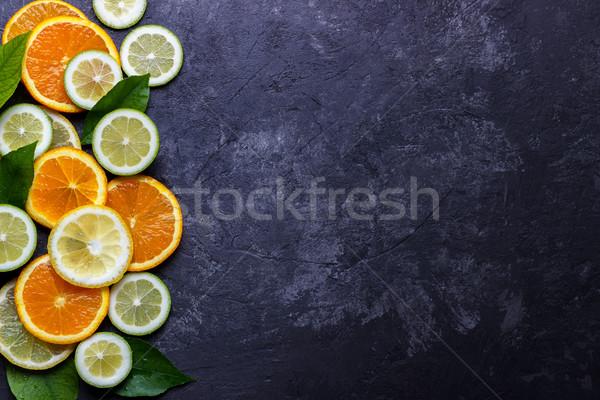 Citrom citrus narancs szeletek érett sötét Stock fotó © Lana_M