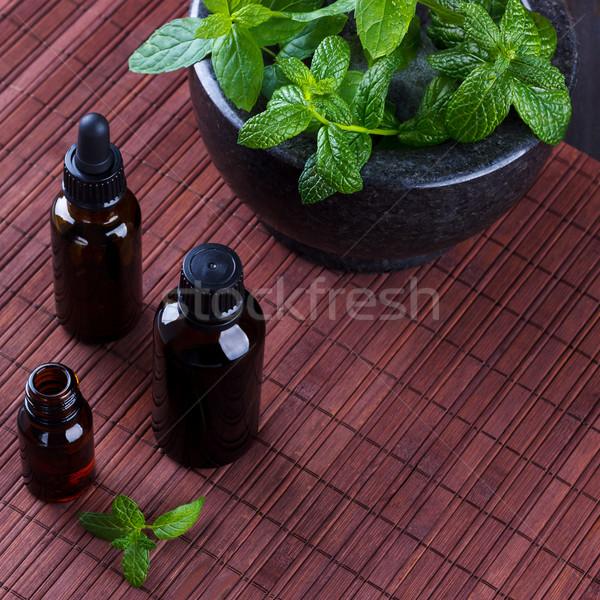 Menta oli essenziali piccolo bottiglie aromaterapia Foto d'archivio © Lana_M