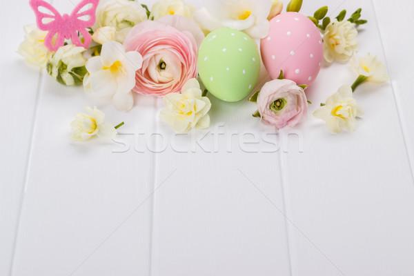 пасхальных яиц цветы белый Пасху весны Сток-фото © Lana_M