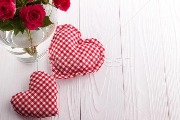 Harten boeket roze rozen vaas valentijnsdag Stockfoto © Lana_M