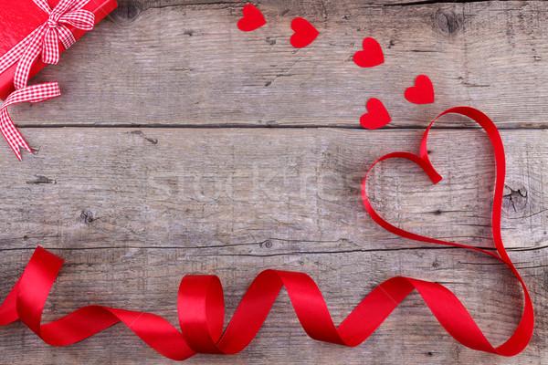 шкатулке сердце лента любви Сток-фото © Lana_M