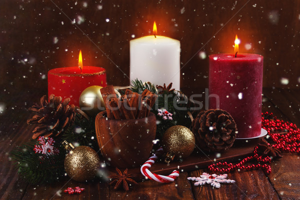 Stock photo: Christmas candles and ornaments