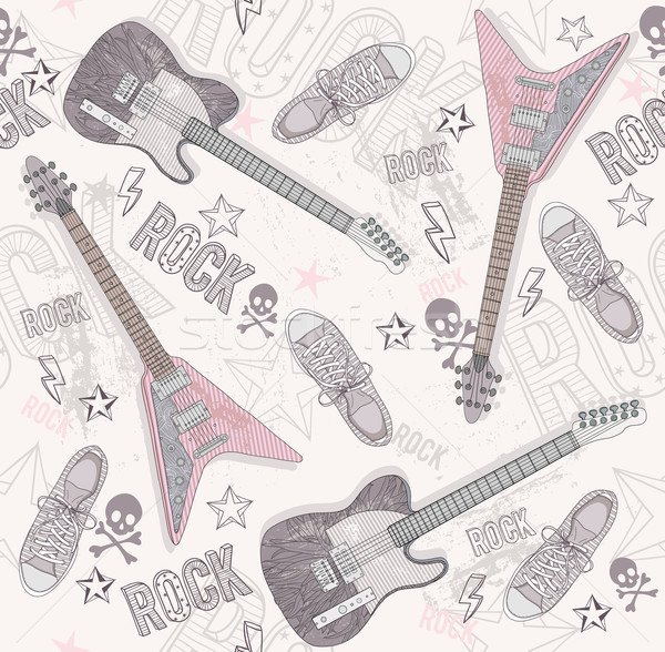 Cute grunge abstract pattern. Seamless pattern with guitars. Stock photo © lapesnape