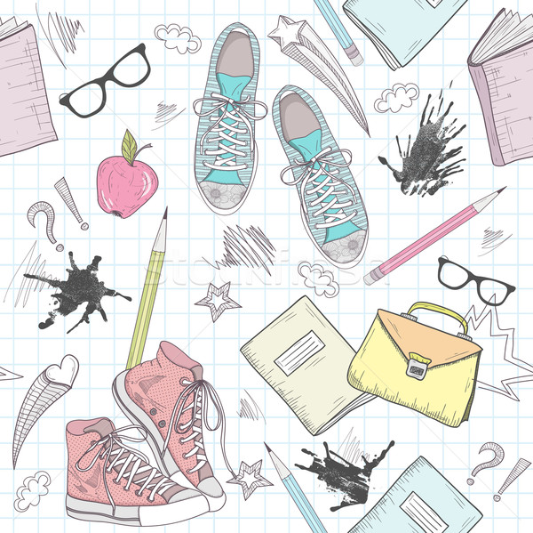 Cute school abstract pattern. Seamless pattern with shoes, bags, Stock photo © lapesnape