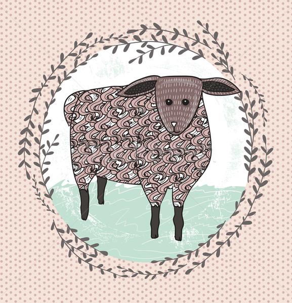 Cute little sheep illustration for children. Stock photo © lapesnape
