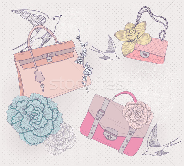 fashion illustration background with fashionable bags flowers