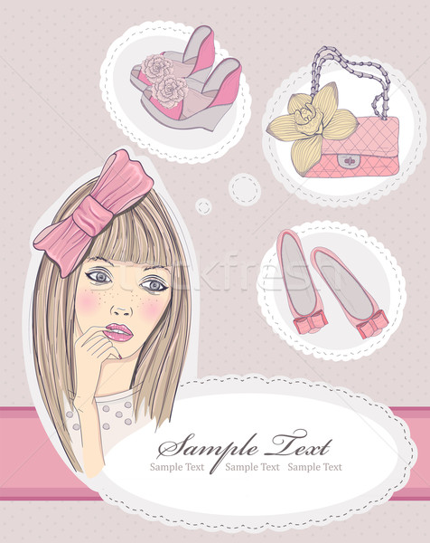 Fashion girl dreaming about bags and shoes. Vector illustration. Stock photo © lapesnape